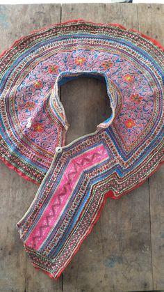 Vintage Hmong shirt collar Handmade Fabric handmade by dellshop, $16.80