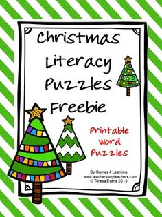 Christmas Literacy Puzzles FREEBIE gives you 2 Christmas word puzzles by Games 4 Learning.