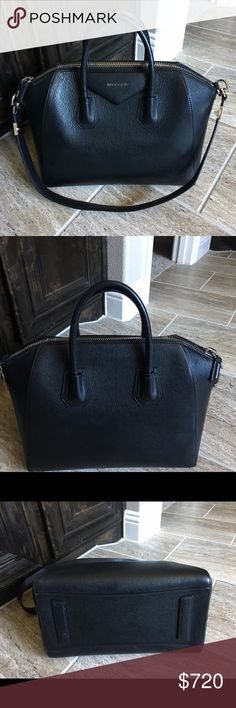 Authentic Givenchy Antigona Medium Black Givenchy antigona medium in black for sale , I spilled make up in the side so the condition is not as good ! But the outside is in PERFECT CONDITION... I DONT HAVE ANY OF THE PACKING. I do have proof of authenticity.. if you are interested drop a comment or leave me a email BlairBeauty00@gmail.com Givenchy Bags Shoulder Bags