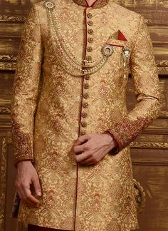 Benarasi Silk Golden Achkan Sherwani Sherwani For Men Wedding, Wedding Dresses Men Indian, Sherwani Groom, Mens Sherwani, Couple Wedding Dress, Groom Wedding Dress, Groom Dress, Wedding Wear, Kurta Pajama Men