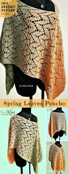 Spring Leaves Poncho #FreeCrochetPattern Neck #CrochetPonchoTorso | size: S, M, L, XL, 2XL, 3XL | Written in PDF | US Terms Level:beginneryarn:Sport (12 wpi) hook: 3mmAuthor: By Maz Kwok We decided to find the tunic with the leaves motif becauseof harmony has a way of making things work out for the best.