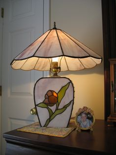 STAINED GLASS LAMP PAM MCCORKHILL DESIGNED AND FABRICATED STAINED GLASS LAMP BASE AND SHADE FOR CUSTOMER