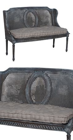 Enjoy an afternoon tea break or relaxing evening reading session while seated on this vintage-inspired Dolores Bench. This caned bench features a distressed gray finish with wicker-style woven details ...  Find the Dolores Bench, as seen in the Modern British Flat Collection at http://dotandbo.com/collections/modern-british-flat?utm_source=pinterest&utm_medium=organic&db_sku=118022