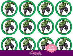 INSTANT DOWNLOAD DIGITAL FILE Super Hero Incredible Hulk Avengers 2 inch Round Labels Birthday Party Favors Cupcake Toppers by DannisCuteCreations