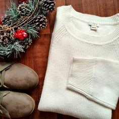 J.Crew Sweater Curved - hem sweater. Three-quarter sleeves. Viscose/Nylon/Merino wool. Hits slightly below hip. Color: snow  Brand new with tags.  Size M J. Crew Sweaters Crew & Scoop Necks
