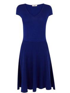Oasis Fit and flare v neck dress Blue - House of Fraser