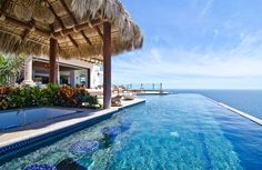 Villa Villa Turquesa (MEX TRQ) in Cabo San Lucas, Mexico from WIMCO Villas. villa is situated on a cliff overlooking the Pacific. Infinity Pools, Outdoor Stone, Outdoor Dining, Dining Area, Cabo San Lucas, Shade Structure, Vacation Villas, Vacation Rentals, Luxury Villa