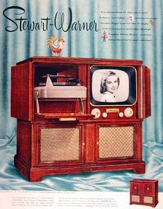 1951 combination television and record player unit Vintage Records, Vintage Tv, Vintage Prints, Vintage Items, Radios, Vintage Television, Television Set, Television Console, Tvs