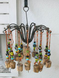 Indian Iron Wind Chime W/Beads