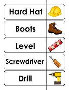 Building Investigation... Construction tools word cards Free
