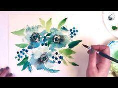 Simple Watercolor Winter Floral Boquet Beginner Watercolor