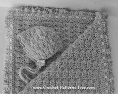 Free Crochet Baby Blanket Pattern in Shell Stitch -baby bonnet pattern-free crochet pattern