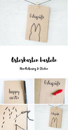 Post zu Ostern: Osterkarten basteln mit Handlettering und gestickten Osterhasen