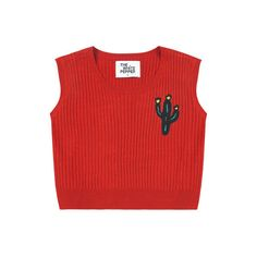 Embroidery Patch Crop Vest (2,510 DOP) ❤ liked on Polyvore featuring tops, shirts, crop tops, tank tops, red top, embroidered tank top, crop tank, patch shirt and red tank top