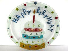 Fused Art Glass Happy Birthday Cake Platter Plate Serving Dish Large Cupcake VTG