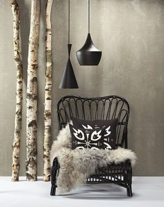 Furniture design, interior design, decor, birch trunks is an unexpected final touch to this rustic interior!