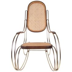 Attractive Thonet inspired rocker with brass frame and cane seat combine traditional and modern aesthetics compatible with any decor. Please confirm item location (NY or NJ) with dealer. Rocking Chairs For Sale, Modern Aesthetics, Diy Home Improvement, Rattan, Mid-century Modern, Chrome, Brass, Traditional, Metal