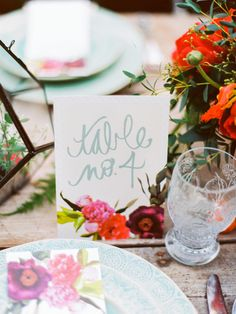 calligraphy table numbers, photo by Love by Serena, styling by Sarah Park Events http://ruffledblog.com/oatlands-plantation-wedding-inspiration #tablenumbers #papergoods
