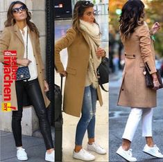 Kamelmantel und weiße Turnschuhe Camel coat and white sneakers # sneakers Winter Mode Outfits, Casual Winter Outfits, Cool Outfits, Stylish Outfits, Beautiful Outfits, Summer Outfits, Jeans Skinny Blanc, Looks Adidas, Camel Coat Outfit