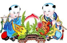 Chinese New Year Cherubs posted by Sifu Derek Frearson Chinese New Year Poster, New Years Poster, Chinese New Year Traditions, Spring Festival, Chinese Art, Japanese Art, Art Pictures, Folk Art, Arts And Crafts