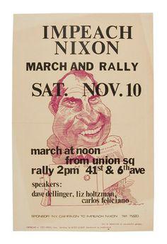 Impeach Nixon 1973 Poster with Caricature by David Levine   eBay