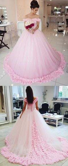 Glamorous Tulle & Satin Off-the-shoulder Neckline Basque Waistline Ball Gown Wedding Dress With 3D Flowers