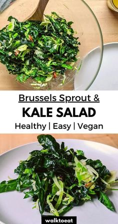 Easy Salads, Healthy Salads, Healthy Eating, Brussels Sprout, Brussel Sprout Salad, Kale Salad Recipes, Sprouts Salad, Dried Beans, Healthy Side Dishes