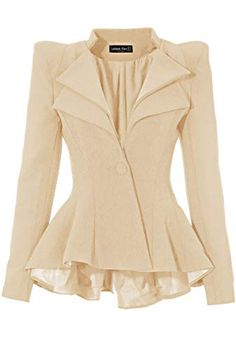 Front view of apricot double lapel fit-and-flare blazer Blazer Outfits, Blazer Fashion, Dress Outfits, Blouse Styles, Blouse Designs, Classy Outfits, Casual Outfits, Suits For Women, Clothes For Women