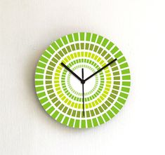 Green wall clock avocado olive minty lemon lime by ArtisEverything, $39.00. Leaning more and more toward green in the master bedroom.