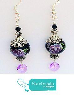 Handmade Earrings~Black w/Purple Flowers~Swarovski Crystal - deal makeup Beaded Earrings, Earrings Handmade, Drop Earrings, Discount Shoes, Discount Makeup, Vintage Sweaters, Purple Flowers, Swarovski Crystals, Amazon