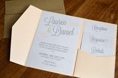Rustic pocket wedding invitations in gray & coral by Something Printed