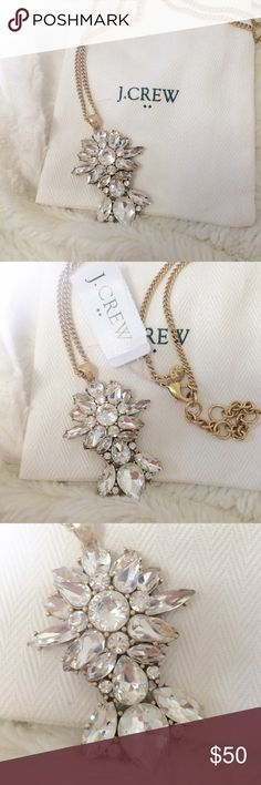 OFFER PARTY 💕J. Crew | Long Pendant Necklace Gorgeous rhinestone pendant necklace from J. Crew. Long with hook closure. Comes with dust bag. J. Crew Jewelry Necklaces