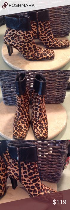 EUC leather calf hair boots These are SHARP!! Worn maybe three times. They are leopard call hair with black leather croc pattern on top. They have inside zippers. No flaws only show the little wear on bottom. These are beautiful on. They have 3in heels. ❤️❤️ Enzo Angiolini Shoes Heeled Boots
