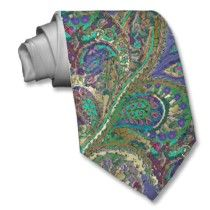 For groomsmen? Paisley Peacock Colors Wedding Tie by samack A little busy but brings all the colors together
