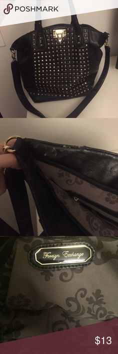 Large studded bag used but clean inside - no inside stains - only wear is as pictured on left side of bag Foreign Exchange Bags Satchels
