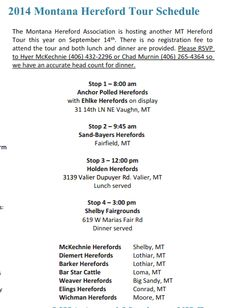 2013 Montana Hereford Tour information: Sept. 14