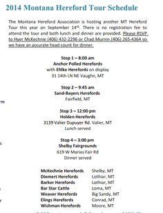 2013 Montana Hereford Tour information: Sept. 14