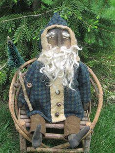 Primitive Grungy Folk Art Santa DollMr. Claus by OldeAtticPrims                                                                                                                                                      More