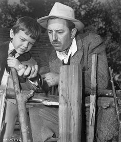 Walt and Bobby Driscoll on the set of Song of the South