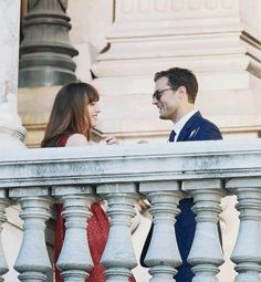 """Jamie Dornan and Dakota Johnson on the sets of """"Fifty Shades Freed"""" were greeting their fans in France, Paris, July 18"""