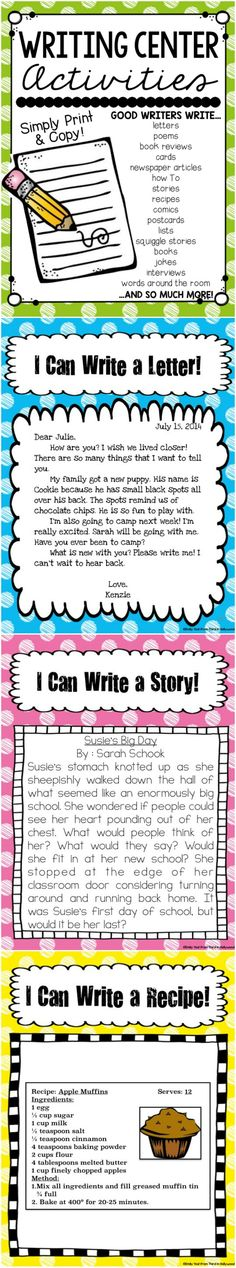 Writing Center-- Complete with examples, posters, and templates for each type of writing!