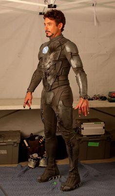 """Robert Downey Jr. models the """"Iron Man 3"""" under-armor.  Hnnnng."""