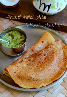 Foxtail Millet Adai-Thinai Paruppu Adai-Healthy Dinner Recipes-Millet Recipes Source by nsandhyarao Indian Snacks, Indian Food Recipes, New Recipes, Cooking Recipes, Andhra Recipes, Cheap Recipes, Simple Recipes, Recipies, Healthy Dinners For Kids