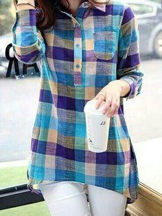 Casual Shirt Collar Long Sleeve Plaid Linen Blouse For Women Xl Shirt, Shirt Blouses, Trendy Tops For Women, Blouses For Women, Kurta Designs, Blouse Designs, Blouse En Lin, Designer Kurtis, Designer Wear