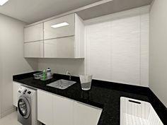 Área de serviço apartamento com muito vidro no mobiliário, dando leveza ao ambiente!