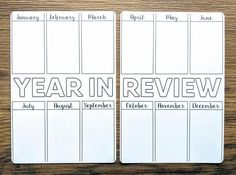 Want the perfect way to see a summary of your year in one spread? This two-page goodie will let you fill in the highlights of each month from the year. It's a wonderful way to reflect and plan for the future as well as to reminisce about all the great things that happened in the past twelve months. This will be a favorite page to see month after month! * This listing is for ONE (1) STICKER SET of my YEAR IN REVIEW spread and is digitally-created. * The STICKER SET contains TWO (2) spreads, and e Bullet Journal Year In Review, Bullet Journal Yearly, Goal Journal, Bullet Journal Layout, Bullet Journal Ideas Pages, Bullet Journal Inspiration, Journal Pages, Bullet Journals, Bujo