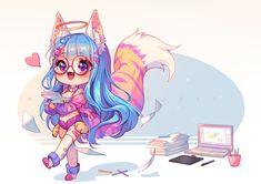 [+Video] Commission - Rawr Work by Hyanna-Natsu on DeviantArt Cute Food Art, Cute Art, Cute Anime Chibi, Kawaii Anime, Kawaii Drawings, Cute Drawings, Awesome Drawings, Chibi Unicorn, Hyanna Natsu