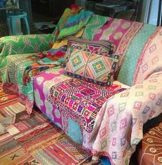 ☮ American Hippie DIY ~ Bohemian Textile .. Make a gypsy style couch cover!