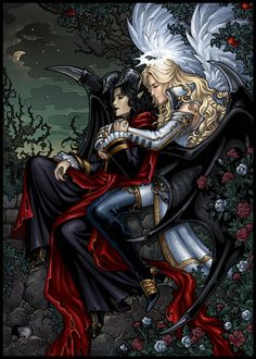 Romance  by =Candra  Demon Mephistopheles and archangel Michael - chаracter from japanese game AnimaMundi: The Dark Alchemist.