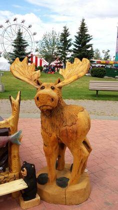 Moose - Alaskan chainsaw carvings, 2014 Bear Paw Festival, Eagle River, AK